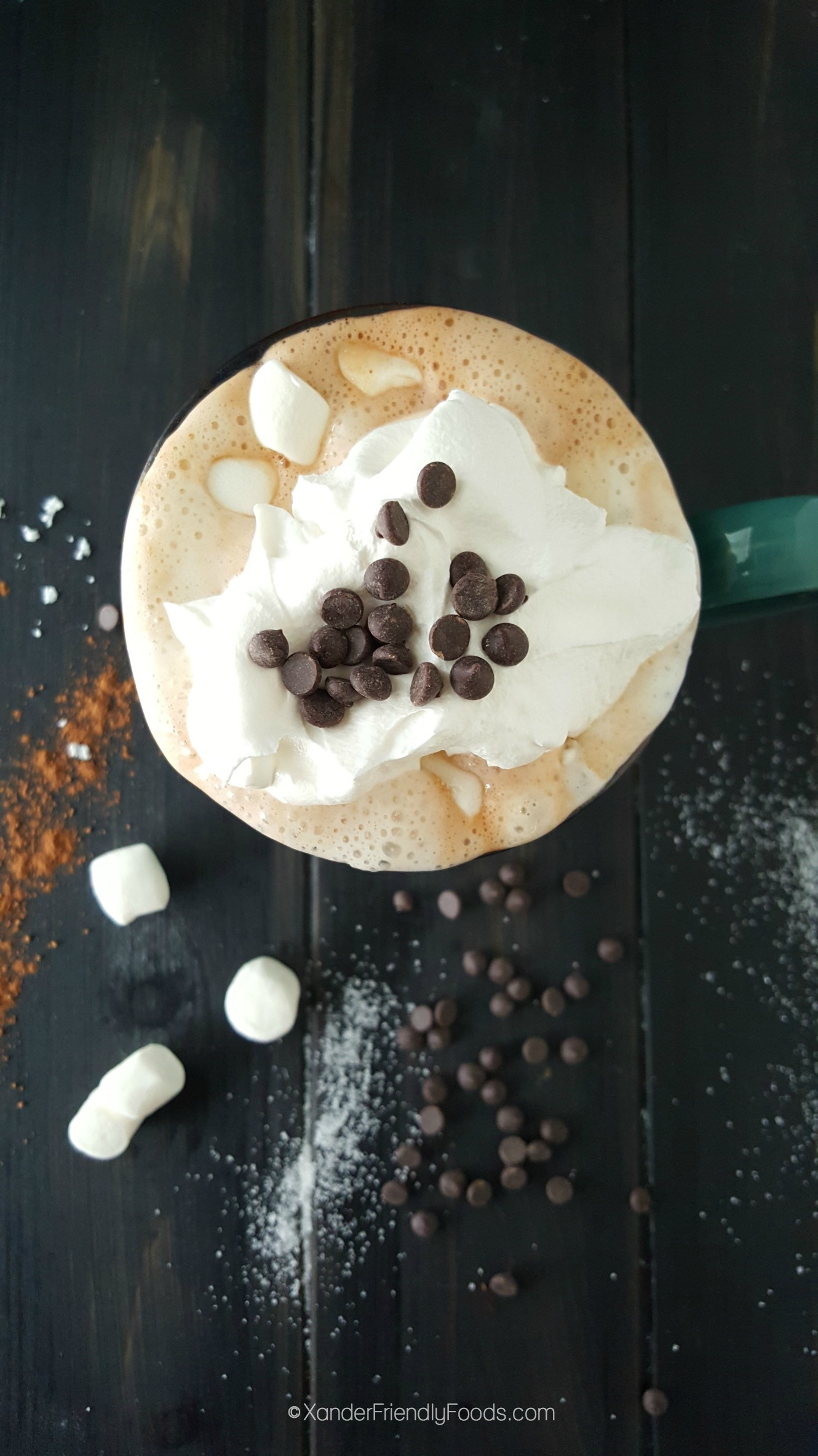 Deliciously dairy free hot cocoa, loaded with all the toppings
