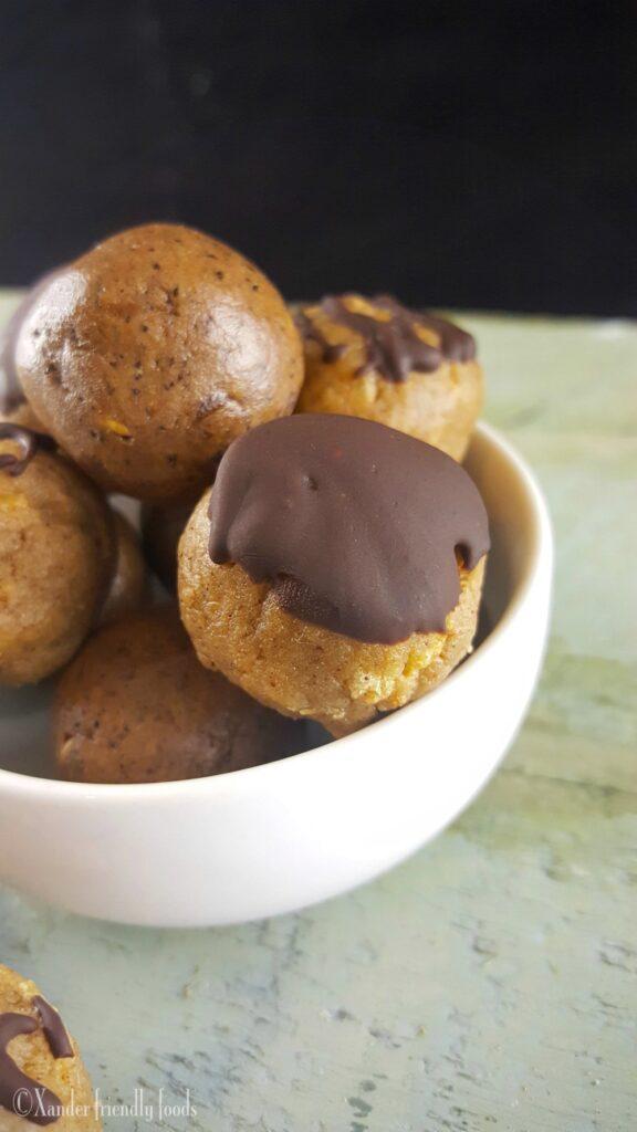 Chocolate Mocha Protein Bites with glaze